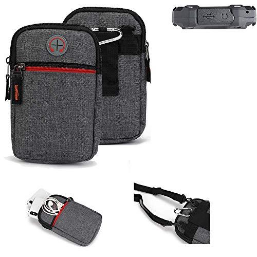 K-S-Trade® Gürtel-Tasche Für Simvalley Mobile SPT-210 Handy-Tasche Schutz-hülle Grau Zusatzfächer 1x