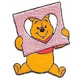 Ecusson - Winnie L'Ourson 'Cadre de Coeur' Disney - jaune - 7,5x5,8cm - patches brode appliques embroidery thermocollant