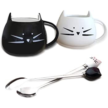 SITAKE 2 Pack Lovely Cute Cat Ceramic Mug Cups with Spoons Set Gifts for Women Girls Cat Lovers, Morning Tea Coffee Milk Cat Shaped Cup 500ml