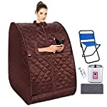 usuallye Steam Sauna Spa 2L Portable Foldable Personal Therapeutic Sauna Tent Pot for Weight Loss Detox Reduce Stress Fatigue with Remote Chair Indoor Home (Brown)