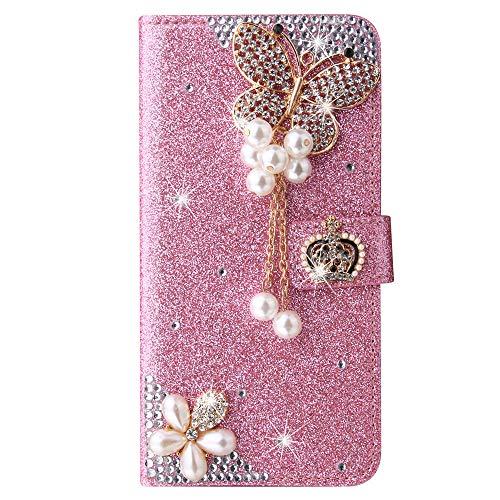 Blllue Funda de cartera compatible con iPhone 7 Plus, Bling Crown Butterfly Glitter Diamond Pu Funda de cuero Flip Phone Cover para iPhone 8 Plus - Rosa