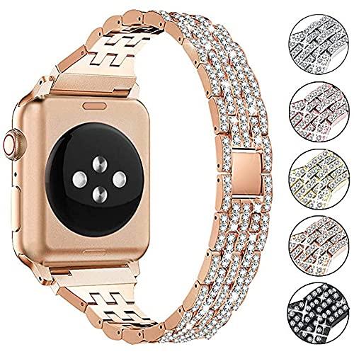 QINJIE Correa de Metal de Acero Inoxidable Compatible con Apple Watch Joyas de Metal Pulsera de Diamantes de imitación Reemplazo de Correa de muñeca para Mujer,Rose Gold,42mm