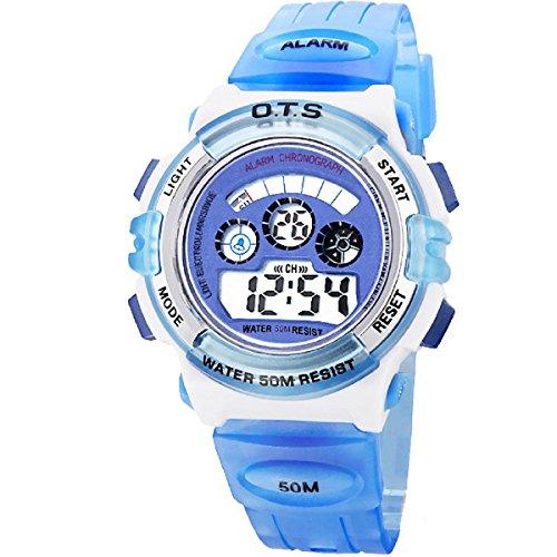 O.T.S Infantil Niños Niñas Reloj Deportivo Digital Resistente al Agua Multifunción Led Al Aire Libre De Pulsera - Cielo Azul