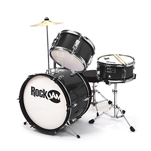 RockJam 3-teiliges Junior Drum Set mit Crash Cymbal, Drumsticks, Verstellbarer Thron und Zubehör - Schwarz