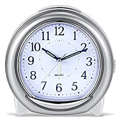 BonyTek Desk Alarm Clock, Silent Quartz Alarm Clock with Loud Mechanical Bell Bird Song Melody Alarm, Nightlight, Snooze, Silent Sweep Seconds, Luminous Hands, Battery Powered (Sliver)