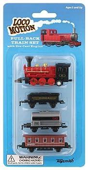 Toysmith 7041 Mini Pull-Back Train Set  Assorted Styles