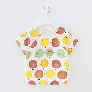 LANGNIU LANGNIU Reines Baumwollbaby isst Kinderkleid für Kinder-Kurzärmlige Bunte orange_15 Yards für 1-2 Jahre geeignet