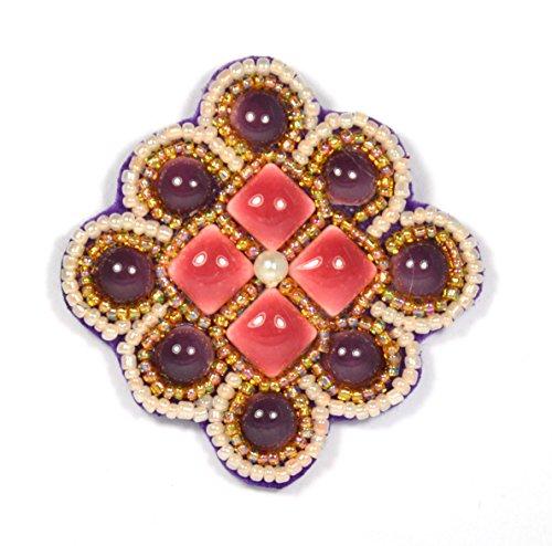 Broche de flor cuadrada morado y rosa de porcelana y perlas de...