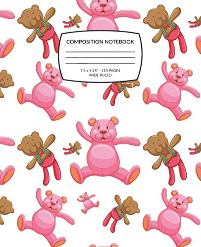 Pink Teddy Bear Composition Notebook: Wide Ruled Lined Paper Notebook Journal for Kids | Cute Teddy Bear Pattern