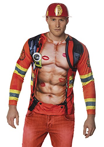 Boland 84404 Photorealistisches Shirt Fireman, mens, M