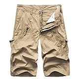 AYG Bermudas Cargo Shorts Hombres Pantalones Cortos(Khaki,34)