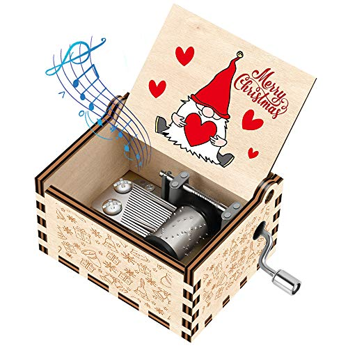 Officygnet Christmas Music Boxes Gifts for Kids/Girlfriend/Woman/Daughter/Wife/Boys/Girls, Gnome Santa Hand Crank Wooden Music Box for New Year/Holiday/Birthday/Christmas Party Gifts(Wood-Colorful)