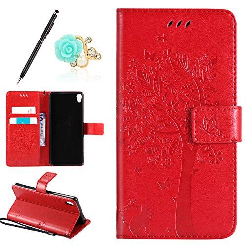 Uposao Kompatibel mit Sony Xperia XA Handyhülle Tasche Leder Flip Hülle Wallet Schutzhülle Katze Ledertasche Bookstyle Cover Leder Klapphülle Lederhülle Handytasche Kartenfach,Rot