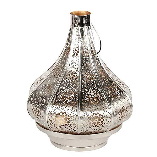 albena shop 71-5240 orientalisches Windlicht Laterne 30cm Metall (Jadoo 30cm Silber/innen Gold)