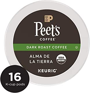 Peet's Coffee Organic Alma De La Tierra, Dark Roast, 16 Count Single Serve K-Cup Coffee Pods for Keurig Coffee Maker