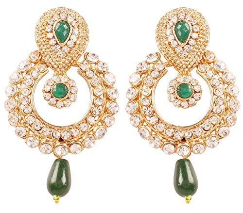 Touchstone Indian Bollywood Rich Beautiful Contemporary Studded Look White Rhinestone Faux Emerald Glass Drops Chaand Moon Inspired Designer Jewelry Earrings In Antique Gold Tone For Women.