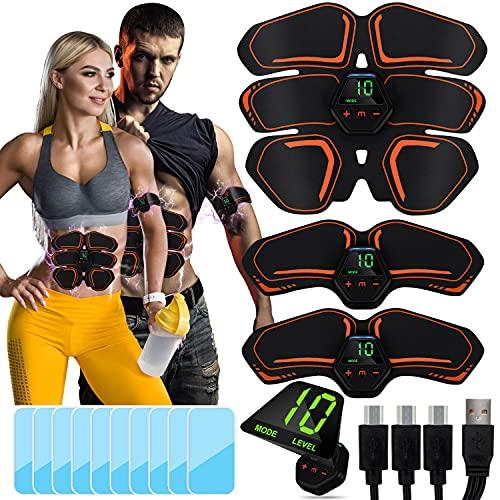 Sotor EMS Electroestimulador Muscular Abdominales Cinturón con Pantalla LCD, USB Recargable, 10 Modos, 20 Niveles Diferentes y 10 Piezas de Almohadillas de Gel para Abdomen Cintura Pierna Brazo