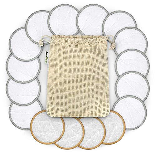 Tampons Démaquillants Réutilisables-16pcs Tampons en Coton De Bambou Lavables-pour Les Peaux Sensibles Cosmétiques Quotidiens - avec Sac en Tissu De Coton