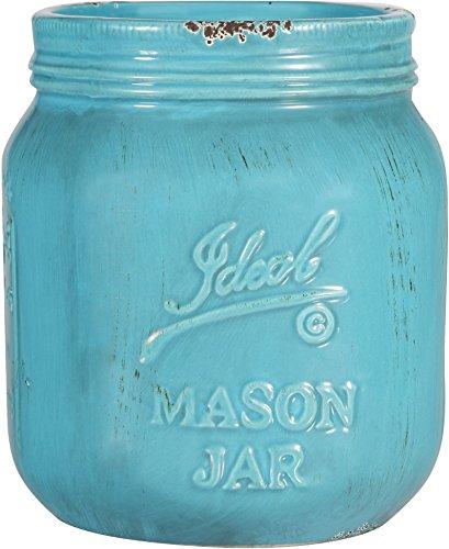 Vintage Ceramic Utensil Crock in Aqua-or Red-- Maon Jar Container (Aqua)