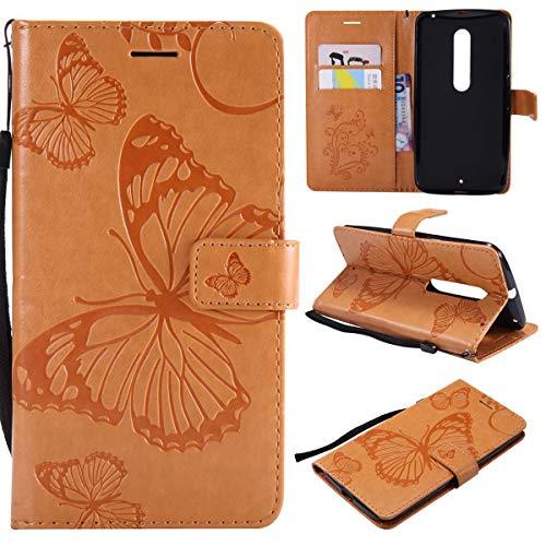 Sangrl PU-Leder Hülle Für Motorola Moto X Style, 3D Butterfly Flip Schale Brieftasche Mit Bracket-Funktion Kartenfächer Wallet Hülle Tasche Für Motorola Moto X Style - Gelb