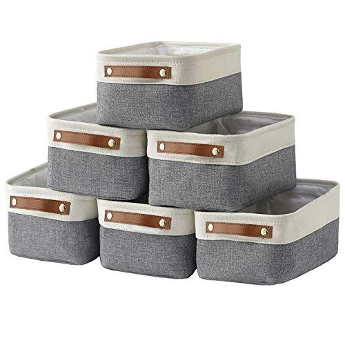 Cestas pequeñas de almacenamiento HNZIGE para organizar (6 unidades), cestas de tela para estantes, armarios, lavandería, guardería,...