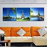 wcylj 3 Paneles Lienzo impresión decoración Moderna Pared Cuadros París Paisaje Torre Eiffel bajo Cielo Azul decoración Pinturas sin Marco más nuevo-60x80cm
