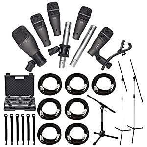 Samson DK707 7-Piece Drum Microphone Kit + Tripod Base Mic Boom Stand + Ultimate Low-Level Tripod Mic Stand + 7 XLR Mic Cables 20 ft.+ Strapeez, Black - Ultimate Accessory Bundle