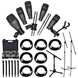 Samson DK707 7-Piece Drum Microphone Kit + Tripod Base Mic Boom Stand + Ultimate Low-Level Tripod Mic Stand + 7 XLR Mic Cables 20 ft.+ Strapeez, Black - Ultimate Accessory Bundle