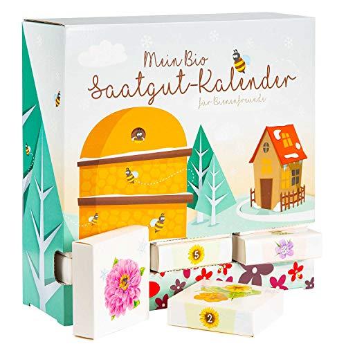 """BIO-Saatgut Adventskalender """"Bienen-Freund"""" - 24 Schachteln mit Blumen und Kräutersamen"""