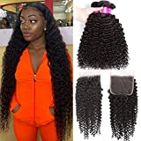 Brazilian Kinky Curly Bundles with Closure(24 26 28+20)10A Virgin Human Hair Bundles with Closure Remy Curly Hair 3 Bundles with Lace Closure Free Part Jerry Curl Hair Bundles