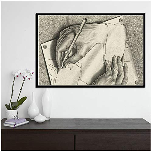 Escher Surrealistisch Geometrisch Kunstwerk Modern Schilderij Poster Prints Canvas Muur Foto Voor Huiskamer Decor -60x85 Geen Frame