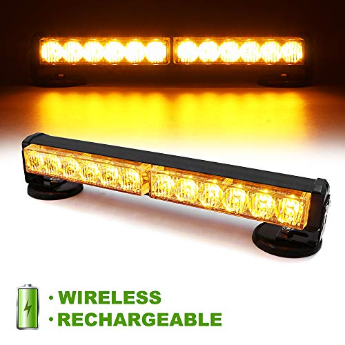 FOXCID 12 LED Amber 12'' Emergency Hazard Warning Strobe Flashing Light Bar Wireless Battery W/ Magnetic Base and Rechargeable Plug for Beacon Rooftop Safety Vehicles Tow Trucks Tractor Snowplow