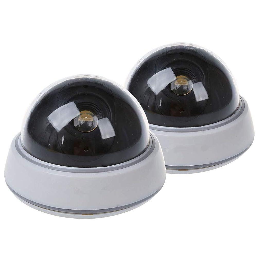 反逆試用悪性腫瘍Lybaiドーム型 ダミーカメラ フェイクカメラ LEDライト点滅 不審者を常に威防 設置簡単 配線不要 屋内外両用 ホワイト 2個セット (ホワイト)