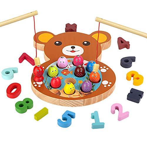 mysunny Giochi in Legno Pesca per Bambini, Gioco Montessori educativi Magnetica, Giocattoli per l'apprendimento del conteggio Digitale per 3 4 5 6 Anni Bimbi Bimba (2 in 1 Orso)