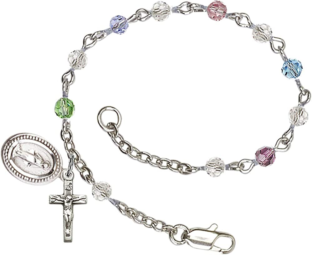 First Communion Silver Plated Charm Bracelet 4mm with NEW Award Multi-Colo