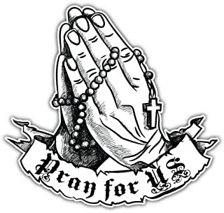 12x6.6 Praying Hands with Rosary Sticker Decal White