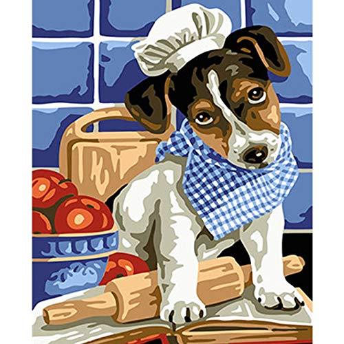 baodanla Frameless olieverf Mooie Dieren Hond D Afbeeldingen Ng Door Nummers Olie Ng Op Doek Huisdecoratie Muur Ar