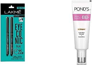 Lakme Eyeconic Kajal Twin Pack, Black, 0.35g with 0.35g & Pond's White Beauty BB+ Fairness Cream 01 Original, 50 g