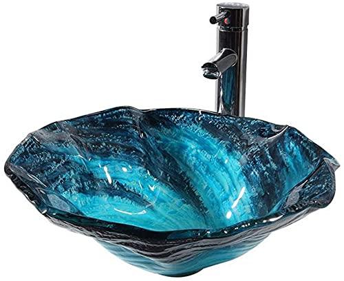 lavamanos bano Lavabo de vidrio templado Lavabo ondulado azul ondulado, instalación de banco Fregadero de baño con grifo, tapón de drenaje, tubo...