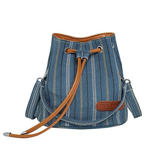 Best Price Drawstring Bucket Bag Canvas Shoulder Bag Stripe Handbag for Women