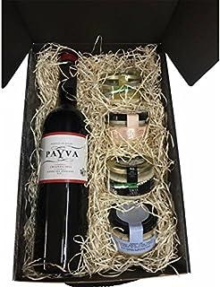 lote productos gourmet con vino en estuche de regalo para Navidad