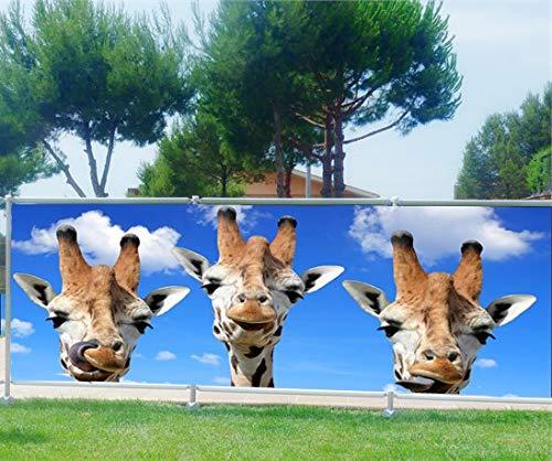 Art Déco Sichtschutz, Bedruckt, Motiv: Giraffen, 340 x 132 cm, 100%