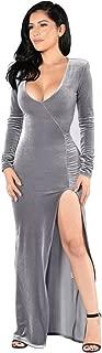 Women's Sexy Deep V-Neck Split Side Evening Dress Velvet Long Dress