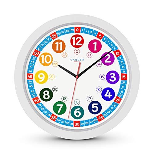 Cander Berlin MNU 1030 Kinderwanduhr (Ø) 30,5 cm Kinder Wanduhr mit lautlosem Uhrenwerk - Ablesen der Uhrzeit Lernen