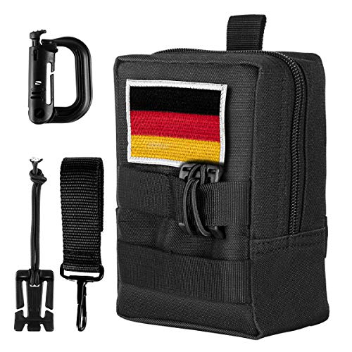 Shidan Molle Bag Multi-Purpose Tactical Compact Pack Waterproof Utility EDC Pouch with Germany Flag Patch D-Ring Button Timing Belt