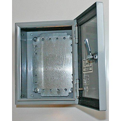 "BUD Industries Series SNB Steel NEMA 4 Sheet Metal Box with Mounting Bracket, 13-31/32"" Width x 15-3/4""Height x 7-55/64"" Depth, Smooth Gray Finish"