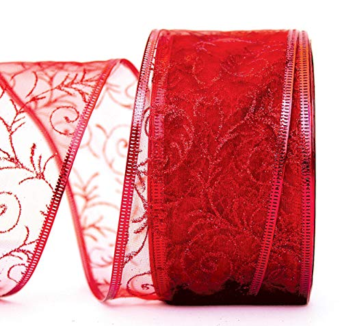 Red Gift Ribbon Wired - Red Wire Edged Ribbon - Organza Sheer Glitter Wire Gift Wrap Ribbons for Christmas Holiday Wrapping & Flowers Valentines Day 2.5 Inches Wide x 50 Yards Long Large Roll