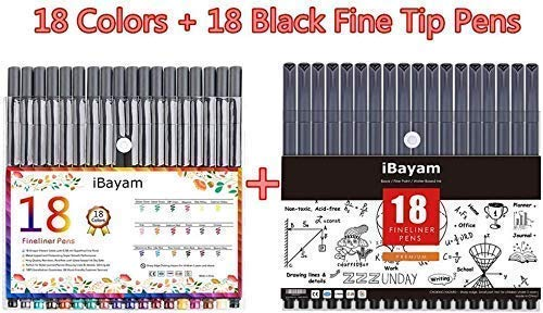 18 Colors & 18 Black Journal Planner Pens Colored Pens Fine Point Markers Fine Tip Drawing Pens Porous Fineliner Pen