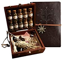 Witchcraft Travel Kit Book of Shadows Beginner Witchcraft Starter kit Crystal Witch kit Wooden Box Altar kit Apothecary kit Crystal Witchcraft