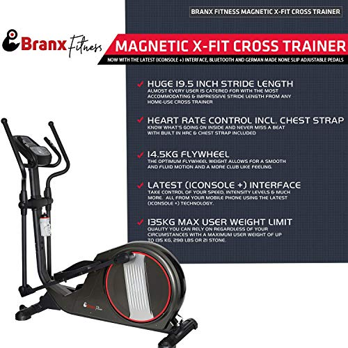 Branx Fitness Magnetic 'X-Fit' Cross Trainer - 14.5 KG Flywheel - 19.5' Stride Length - HRC - Bluetooth - None Slip Adjustable Pedals